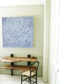 "Evening Moon - 36""x36"" - Blue on white background - Blue Art Print. $159.00, via Etsy."
