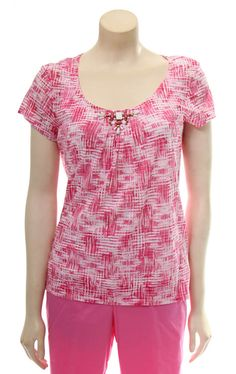 Embellished B/O top in Hibiscus Multi by Ruby Rd.