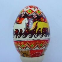 Wax Painted Chicken Egg Horses