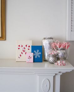 PEPPERMINT CANDY Red and Pearlized Ivory Acrylic, Embossed Silver and Gloss Pink Enamel on Canvas Handmade in St. Louis, MO  Deck the halls with