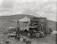 Texas, year 1907.Cowboy cook with his chuck wagon ,JA Ranch, TX.Old Texas art print.Vintage cowboy photography.