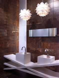 Unique #bathroom design feat. crooked supporting shelves! Work of a genius, creative mind. Absolutely inspiring!