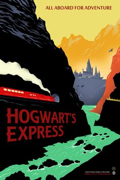 Hogwarts Express Retro Travel Poster harry potter by bigbadrobot