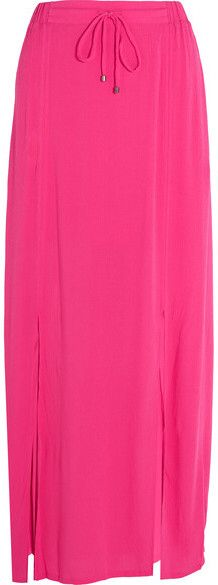 Splendid - Crinkled-gauze Maxi Skirt - Bright pink