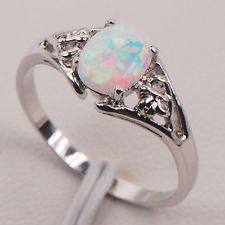 White Fire Opal Silver Gold Filled Gemstone Jewelry Ring Size 5 6 7 8 9 10 11