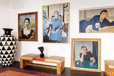 Portrait artwork in Italian apartment