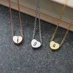 Dainty heart Necklace Initial Necklace by earringsnation on Etsy