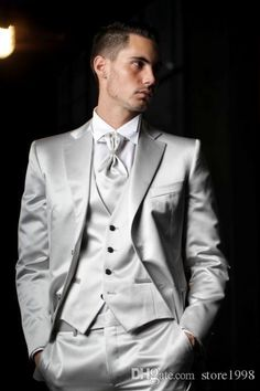 Custom Made Groom Tuxedos Silver Grey Best Man Groomsman Notch Lapel Men Wedding/Dinner/Prom Suits BridegroomJacket+Pants+Tie+VestW659 Prom Suits For Men Tuxedos For Men From Store1998, $76.39| Dhgate.Com