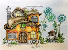 Nice little town 4 by Tanya Bogema Colored by Julie's passion for coloring Storybook Cottage, Cottage Art, Colouring Pages, Coloring Books, Mushroom Drawing, House Quilts, Illustration, House Drawing, Color Pencil Art