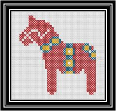 Dala horse cross stitch chart
