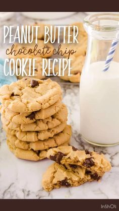 Mix up a batch of these delicious cookies in just a few minutes. Using basic pantry ingredients, these mouth watering treats combine the irresitable flavors of chocolate and peanut butter. They freeze well, too,so they make a great back to school lunch snack! Peanut Butter Chocolate Chip Recipe, Butter Chocolate Chip Cookies, Peanut Butter Recipes, Chocolate Chip Recipes, Peanut Butter Cookies, Chocolate Chips, Favorite Cookie Recipe, Best Cookie Recipes, Easy Recipes