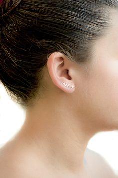 Or feuillage Épingle d'Oreille Or de Rose Brillant par lunaijewelry
