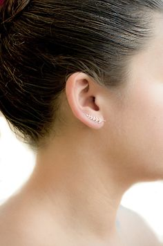 Gold Leaves Ear Pin Shiny Rose Gold Leaves Ear by lunaijewelry