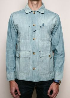 Rogue Territory Wash Me Over Chambray Field Jacket Denim Button Up, Button Up Shirts, Chambray Fabric, Field Jacket, Work Shirts, Denim Fashion, Menswear, Stylish, My Style