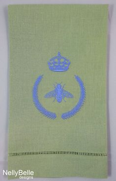 Bee monogram in blue on green linen guest towel. Your guests may never want to leave! NellyBelle Designs