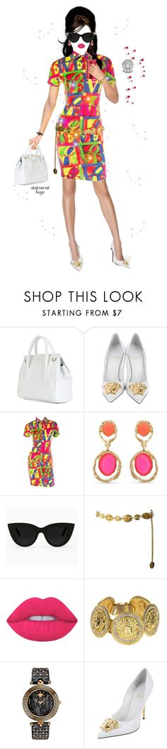"""Joie de vi·vre"" by shellygregory ❤ liked on Polyvore featuring Versace, Erica Lyons, Quay, Chanel, Lime Crime, INSPIRE, fashioninspiration, statementbags, polyPresents and Fashionisfun"