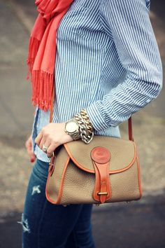 Preppy fall look accented with Vintage Dooney