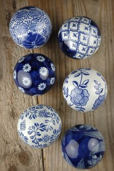 16.99 SALE PRICE! With their antique, European detail, these blue and white globes will accent your classic home with vintage beauty. These balls come in sets of 6, each measuring 3in wide.. Also see: Decorative Balls