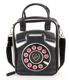 Betsey Johnson Telephone Lunch Tote - Black/ Cream - Keep your lunch and your look cool with Betsey Johnson Lunch Tote. Features a PVC leather exterior with Betsey Signature Telephone Details, Zipper closure with top and detachable adjustable cross-body strap, Fully insulated interior to keep your food cold/hot.