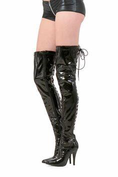 Schwarz Damen Nancy Schenkelhohe Stiefel Mit Blockabsatz 4