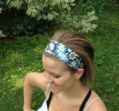 Blue and Teal Floral Wide Headband, Fabric Headband, Women's Head Band, Girls Headband on Etsy, $14.00 Fabric Headbands, Wide Headband, Teal, Blue, Things To Buy, Style Me, Scarves, Sewing, Trending Outfits