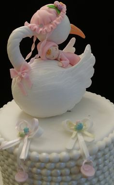 Mommy Stork Cake Topper These pretty Mommy Stork would make a great addition to that special occasion a great cake topper and a excellent piece to place as topper for center pieces, and other baby sho Torta Baby Shower, Baby Shower Sweets, Bolo Artificial, Stork Cake, Baby Reveal Cakes, Baby Shower Cake Decorations, Royal Icing Flowers, Baby Mold, Baby Cake Topper