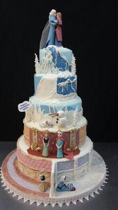 Frozen theme progression cake.