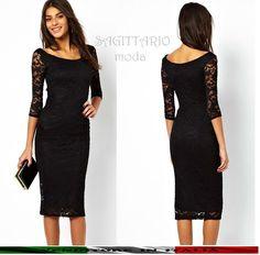 00764ee01f02 Vestito matita tubino nero classico nero pizzo manica lunga elegante sera  abito