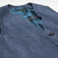 Holland Esquire Dogtooth Waistcoat / Navy | Seasons Clothing