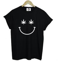 smiley T SHIRT cannabis weed womens mens ladies boys girl tee top... ($13) ❤ liked on Polyvore featuring men's fashion, men's clothing, men's shirts and men's t-shirts