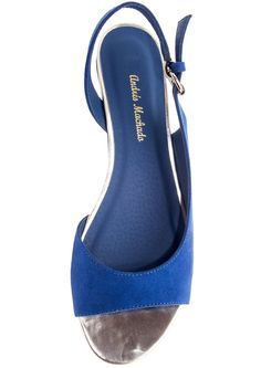wedge halter back peep toe blue