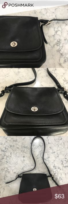 Vintage Coach Rambler Crossbody Black leather coach bag with silver hardware. Notorious front Turn lock. Coach Bags Crossbody Bags