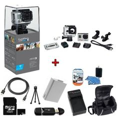GoPro HERO3: Silver Edition Camera (CHDHN-301) w/ SSE Kit: Includes 32GB SDHC High Speed Memory Card, High Speed Card Reader, Extended Life Battery, External Rapid Home & Travel Charger, Deluxe Case, HDMI Cables + More by GoPro. $364.95. In Manufacturer Box: - GoPro HERO3: Silver Edition Camera - 197' (60 m) Waterproof Housing - Assorted Mounting Hardware - Rechargeable Lithium-Ion Battery - Quick Release Buckle - J-Hook Buckle - Curved Adhesive Mount - Flat Adhesive Mount - 3-Wa...