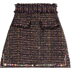 MSGM Bouclé Mini Skirt ($275) ❤ liked on Polyvore featuring skirts, mini skirts, bottoms, none, a line skirt, mini skirt, short skirts, beaded mini skirt and zipper skirt