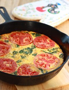 Tomato Spinach Frittata recipe by SeasonWithSpice.com @Season Weaver Weaver with Spice