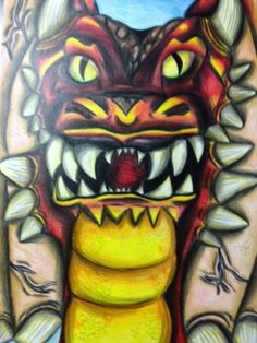 """""""The Reign of the Flame Beast"""" by Raina. Texas Renaissance Festival School Days Student Art Competition- Jr. High, 2014"""