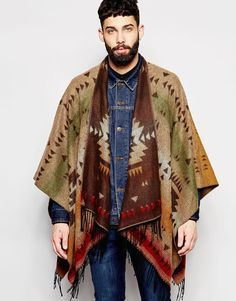 Image 1 of River Island Cape In Geometric Pattern With Tassel Trim