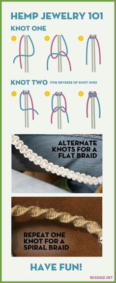 Hemp Jewelry 101 - The Two Basic Knots