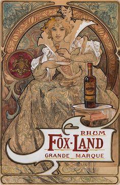 Rhum Fox-Land, Grande Marque, by Alphonse Mucha Mucha Art Nouveau, Alphonse Mucha Art, Art Nouveau Poster, Vintage Posters, Vintage Art, Illustration Art Nouveau, Illustrator, Jugendstil Design, Inspiration Art