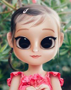 Cartoon, Portrait, Digital Art, Digital Drawing, Digital Painting, Character Design, Drawing, Big Eyes, Cute, Illustration, Art, Girl, Doll, Hair, Blonde, Flowers, Roses, Green Eyes