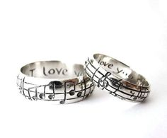 Custom Music Note Wedding Bands – Original Real Music Notes Ring, Sterling Music Ring, Sheet Music Nerd Wedding Rings, Geekery, Personalize Your Song Wedding Bands – High End Nerd Wedding Rings – Geek Chic – Silver – Personalize – Made to Order – Music Rings, Music Jewelry, Cute Jewelry, Wedding Jewelry, Jewelry Rings, Jewlery, Etsy Jewelry, Handmade Jewelry, Nerd Wedding Rings