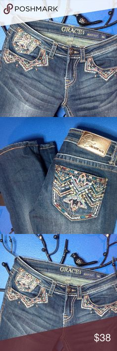 Grace in LA boot cut jeans GREAT condition Grace jeans, Rhinestone, studs & embroidery adorn all 5 pockets. ❣❣❣ Grace in LA Jeans Boot Cut