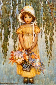 Little girl with flowers, Jessie Willcox Smith