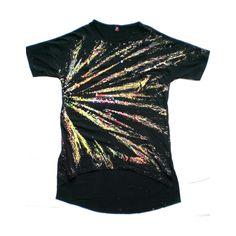 Maglia nera con raggi di vernice colorata