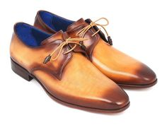 Paul Parkman Brown & Camel Hand-Painted Derby Shoes (ID#326-CMLBRW)