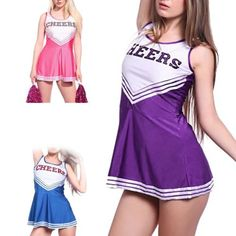 Cheerleader fancy #dress outfit #uniform high school #musical costume with pom po,  View more on the LINK: 	http://www.zeppy.io/product/gb/2/262544043888/