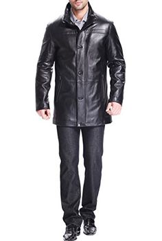 Signature Traditional Fit 3/4 Length Leather Car Coat | men's ...