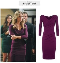 "Emily VanCamp as Emily Thorne in Revenge - ""Illusion"" (Ep. I had a hard time identifying Emily's cocktail dress in this episode and posted an alternative here instead. Emily Thorne, Fashion Tv, 1940s Fashion, Fashion Design, Revenge Fashion, Emily Vancamp, Gala Dresses, Purple Dress, Dress Me Up"