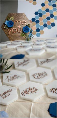 Geometric wedding escort cards, marble hexagon tiles, calligraphy, modern wedding decor ideas, see more on borrowedandblue.com // @jeffrebeccaphot