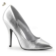Pleaser SED420_S_PU-5 Classic Pump Shoe44; Silver44; Size 5 - Pleaser pumps for women (*Amazon Partner-Link)